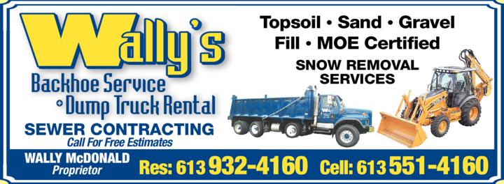 Print Ad of Wally's Backhoe Service & Truck Rental