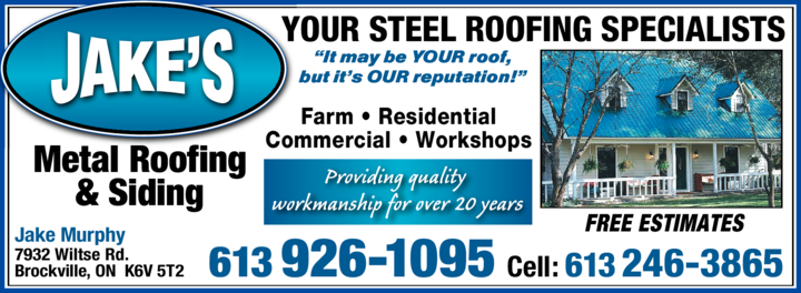 Print Ad of Jake's Metal Roofing & Siding