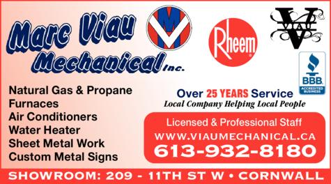 Print Ad of Marc Viau Mechanical Inc
