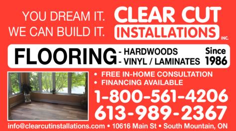 Print Ad of Clear Cut Installations Inc