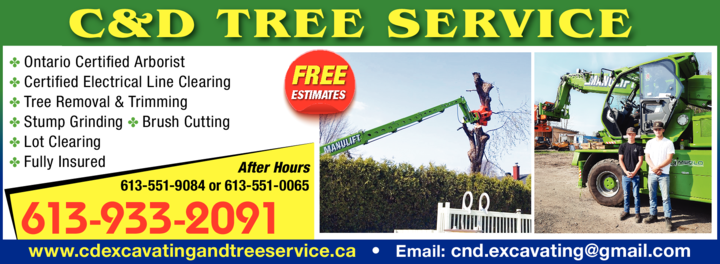 Print Ad of C & D Excavating & Tree Service Ltd