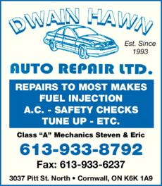 Print Ad of Dwain Hawn Auto Repair Ltd