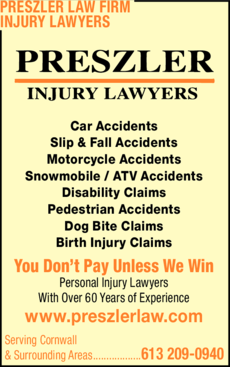 Print Ad of Preszler Law Firm Injury Lawyers